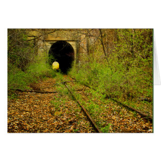 Abandoned train tunnel stationery note card