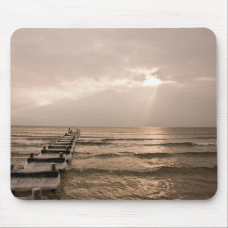 Abandoned winter pier mouse pad