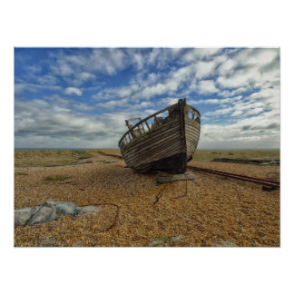 Abandoned Wooden Fishing Boat | Dungeness Poster