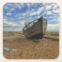Abandoned Wooden Fishing Boat | Dungeness Square Paper Coaster