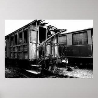 Abandoned Wooden Passenger Car Le Mastrou Poster