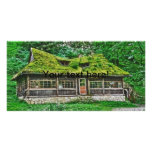 Abandoned woods house photo card template