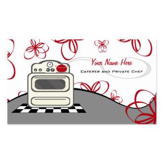 Abastecedor/cocinero rojos de la cocina de la tarjetas de visita