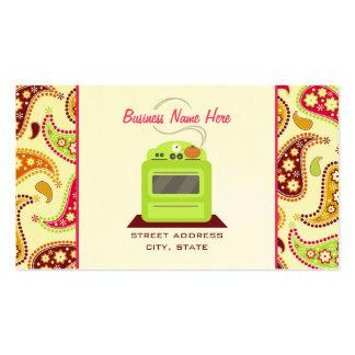 Abastecedor retro verde claro del cocinero de tarjetas de visita