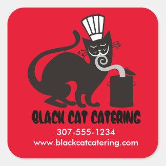 Abastecimiento culinario del gato negro del pegatina cuadrada