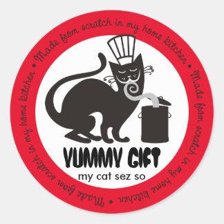 Abastecimiento culinario del gato negro del pegatina redonda