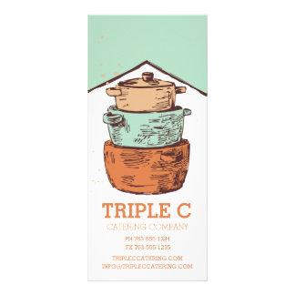abastecimiento de cocinar apilado retro del tarjeta publicitaria a todo color
