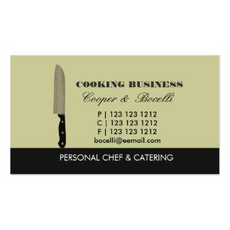 Abastecimiento del cuchillo del cocinero que tarjetas de visita