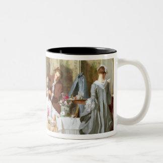 Abbe Prevost reading 'Manon Lescaut', 1856 Two-Tone Coffee Mug