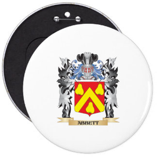 Abbett Coat of Arms - Family Crest 6 Inch Round Button