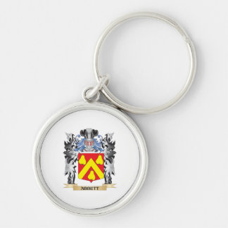 Abbett Coat of Arms - Family Crest Silver-Colored Round Keychain