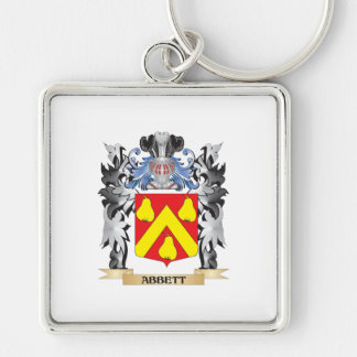 Abbett Coat of Arms - Family Crest Silver-Colored Square Keychain