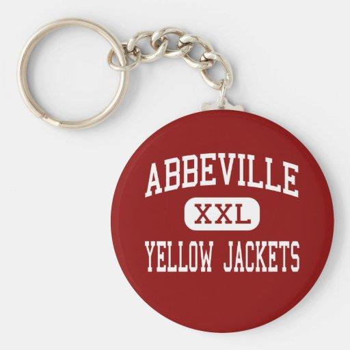 Abbeville - Yellow Jackets - High - Abbeville Basic Round Button Keychain