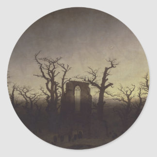 Abbey among Oak Trees by Caspar David Friedrich Classic Round Sticker