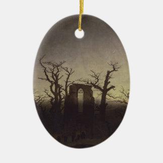 Abbey Among Oak Trees Ceramic Ornament