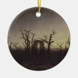 Abbey Among Oak Trees Christmas Ornament