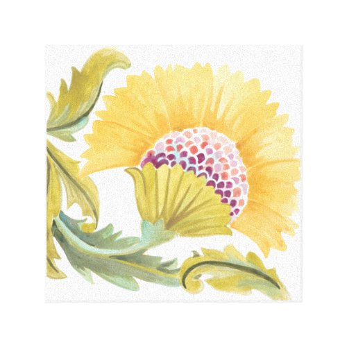 Abbey Floral Tiles - Yellow Canvas Print