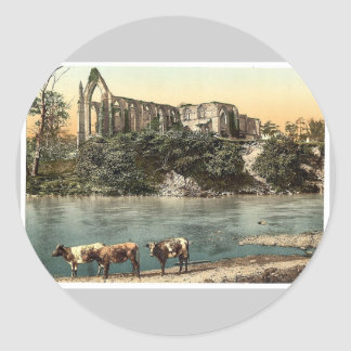 Abbey from the river, Bolton, England vintage Phot Stickers