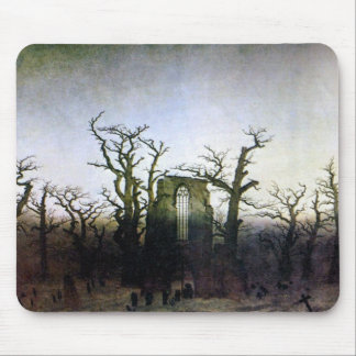 Abbey in an Oak Forest by Caspar David Friedrich Mouse Pad