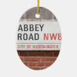 Abbey Road London Double-Sided Oval Ceramic Christmas Ornament