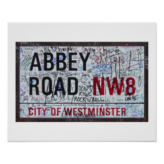 Abbey Road Sign Graffiti Vintage Poster