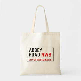 Abbey Road Street Sign Canvas Bags