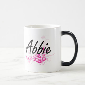 Abbie Artistic Name Design with Flowers 11 Oz Magic Heat Color-Changing Coffee Mug