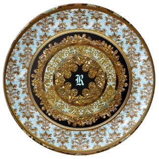 Abbigail Robineau Victorian  Monogram Porcelain Plate