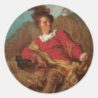 Abbot Dressed as Spaniard by Fragonard Classic Round Sticker