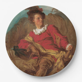 Abbot Dressed as Spaniard by Fragonard 9 Inch Paper Plate