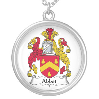 Abbot Family Crest Round Pendant Necklace