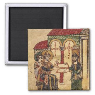 Abbot John offering manuscript Benedict 2 Inch Square Magnet