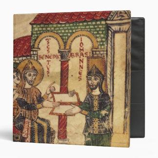 Abbot John offering manuscript Benedict Binder