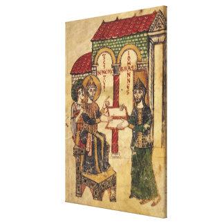 Abbot John offering manuscript Benedict Canvas Print