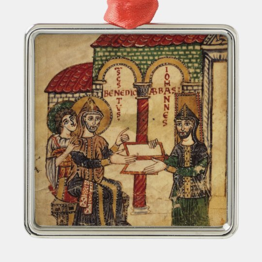 Abbot John offering manuscript Benedict Metal Ornament