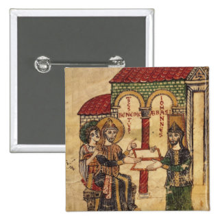 Abbot John offering manuscript Benedict Pinback Button
