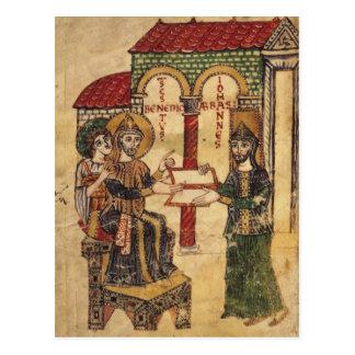 Abbot John offering manuscript Benedict Postcard