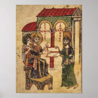 Abbot John offering manuscript Benedict Poster