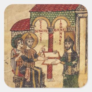 Abbot John offering manuscript Benedict Square Sticker