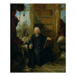 Abbot Nollet  in his study, in chateau Poster