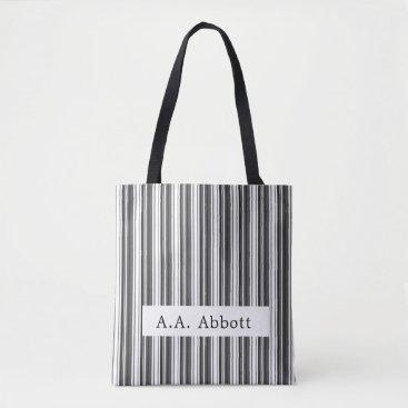 Professional Business Abbott Black White Stripe Tote Bag