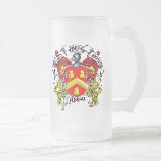Abbott Family Crest Frosted Glass Beer Mug