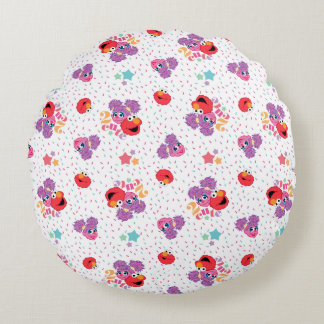 Abby And Elmo 2 Cute Pattern Round Pillow