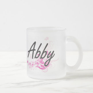 Abby Artistic Name Design with Flowers 10 Oz Frosted Glass Coffee Mug