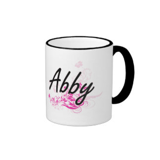 Abby Artistic Name Design with Flowers Ringer Coffee Mug