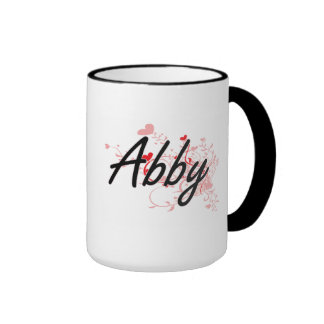 Abby Artistic Name Design with Hearts Ringer Coffee Mug