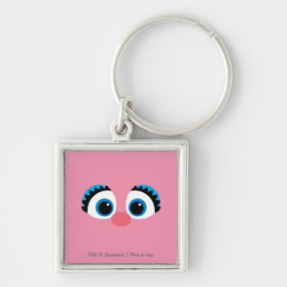 Abby Cadabby Big Face Silver-Colored Square Keychain