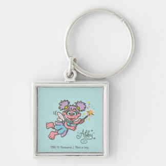 Abby Cadabby Flying Silver-Colored Square Keychain