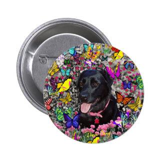 Abby en el botón de las mariposas - Labrador negro Pin Redondo De 2 Pulgadas