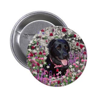 Abby en flores - botón negro de Labrador Pin Redondo De 2 Pulgadas